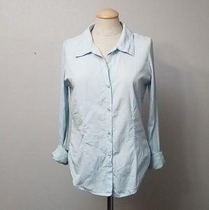 James Perse blue button down shirt